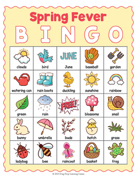 photograph about Spring Printable named Spring BINGO Activity - Printable Spring Themed Sport