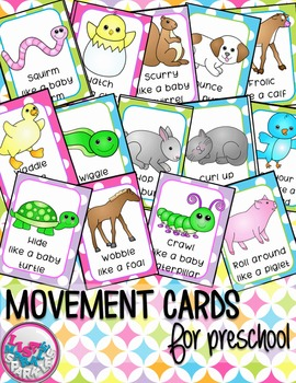 Spring Baby Animals Movement Cards for Preschool