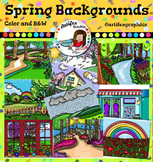 Spring Backgrounds Clip Art-Color and B&W