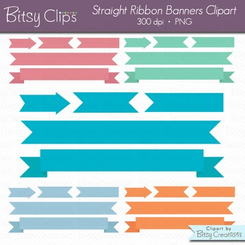 Spring Banners Clipart Digital Art Set INSTANT DOWNLOAD Ribbon Banners
