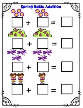 Spring Basic Addition Math Worksheet (sums up to 10)