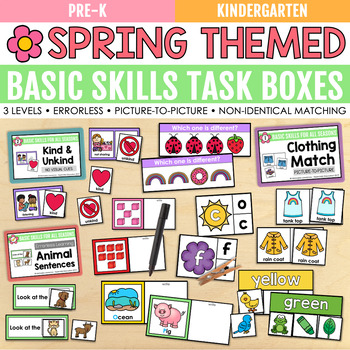 Spring Basic Skills Task Boxes (pre-k, kindergarten, special education)