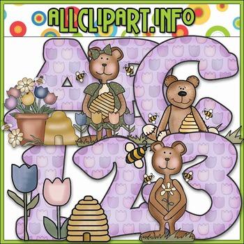 Spring Bears Lettering Delights Alphas - Cheryl Seslar Clip Art