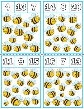Spring Bees Clip Cards | Numbers 1-20