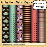 Spring Bees Digital Papers Set  personal & commercial use