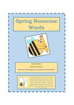 Spring Bees Nonsense Words, Aimsweb, DIBELS