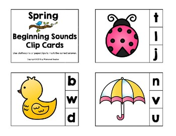 Spring Beginning Sounds Preschool Clip Cards