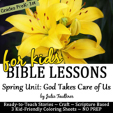 Spring Bible NO PREP Stories, Coloring, Craft, Religious Lessons, Activities