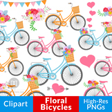 Spring Bicycle Clipart, Floral Bicycles Graphics, Wedding
