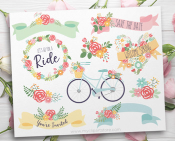 Spring Bicycles, Floral Bike clipart, Wreaths, Ribbons, Floral Collection, SVG