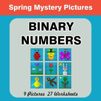 Spring: Binary Numbers - Mystery Pictures / Color By Number