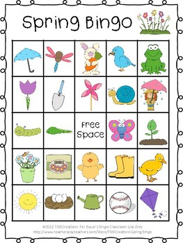 image regarding Spring Bingo Game Printable titled Spring Bingo