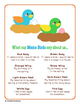 Spring Bird Glyph Craft and Worksheets