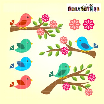 Spring Birds Clip Art - Great for Art Class Projects!