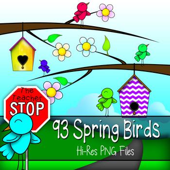 Spring Birds Clip Art - Hi-Res Spring & B/W Outlined {The Teacher Stop}