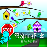Spring Birds Clip Art - Hi-Res Spring & B/W Outlined {The