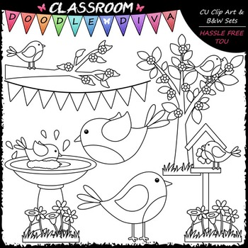 Spring Birds - Clip Art & B&W Set