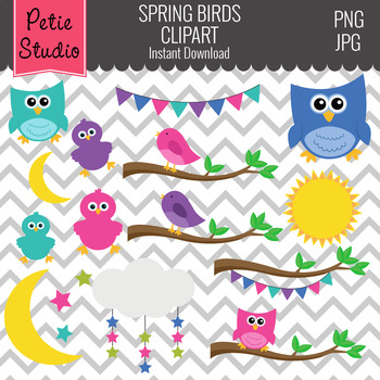 Spring Birds Clipart // Owls on Tree Branches // Bunting Clipart - Animals111