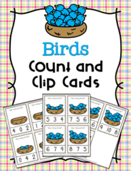 Spring Birds Count and Clip Cards