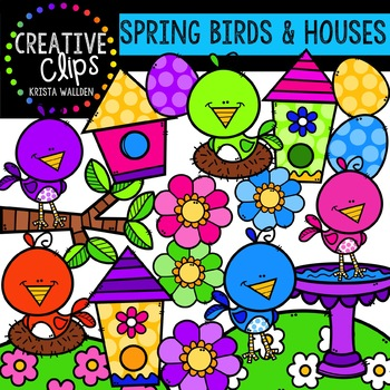 Spring Birds and Houses: Spring Clipart {Creative Clips Clipart}