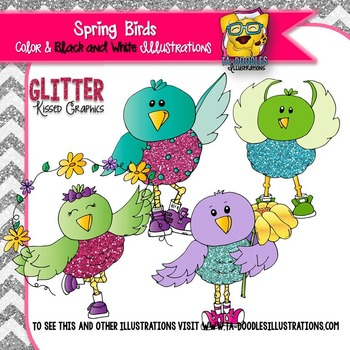 Spring Birds with Glitter