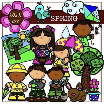 Spring Digital Clipart (color and black&white)