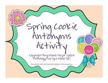 Spring Blog Hop Cookie Antonym Activity FREEBIE