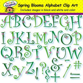 Spring Blooms Alphabet Clip Art