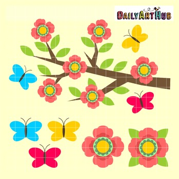 Spring Blossoms Clip Art - Great for Art Class Projects!