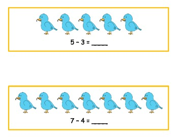 Spring Bluebird Subtracting from 10