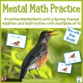 Mental Math Adding and Subtracting Tens Spring Theme Game