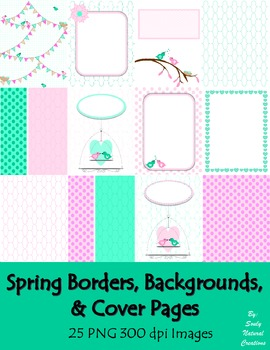 Spring Borders, Backgrounds, and Cover Pages (25 PNG 300 dpi Images)