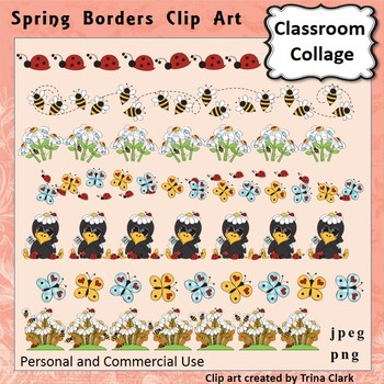 Spring Flower Borders Clip Art Color  personal & commercial use