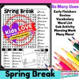 Spring Break Activity: Spring Break Word Search