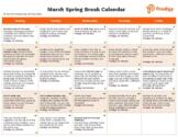 Spring Break Activities Calendar