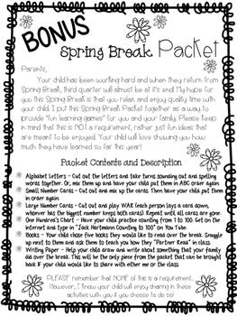 Spring Break Activity Packet