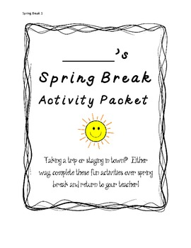 Spring Break Activity Packet