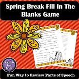 Spring Break Activity | Spring Break Parts of Speech Review Story
