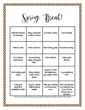 Spring Break BINGO!