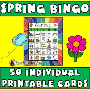 Spring Break BINGO: 50 Individual Boards, Calling Cards, & Memory Game