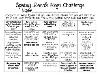 Spring Break Bingo Challenge