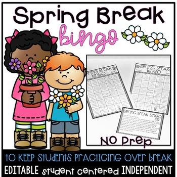 Spring Break Bingo EDITABLE