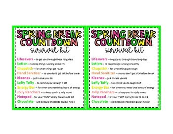 Spring Break Countdown Survival Kit Printable