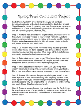 Spring Break Earth Day Community Project