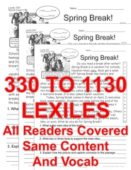 Spring Break FACTS Close Read 5 Level Passages Informational Text Print-N-Go
