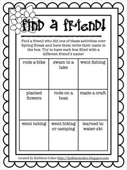 Spring Break Find a Friend Activities