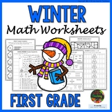 1st Grade Winter Worksheets (1st Grade Winter Math Activities NO PREP)