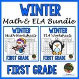 1st Grade Winter Math Worksheets: 1st Grade Winter ELA Worksheets NO PREP Bundle