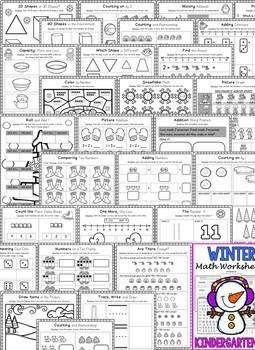 Kindergarten Winter Worksheets (Kindergarten Winter Math Activities NO PREP)