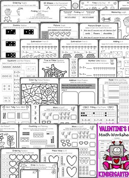 Valentine's Day - Kindergarten Valentine's Day Math Worksheets